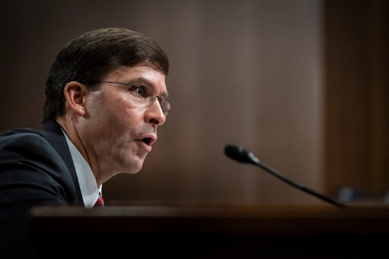 U.S. Defense Secretary nominee Mark Esper testifies before the Senate Armed Services Committee during his confirmation hearing in Washington on July 16.