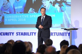 British Prime Minister David Cameron speaking during the Conservative Party Spring Forum on April 9, 2014 in London, United Kingdom.   (Photo by Kerry Davies - WPA Pool/Getty Images)
