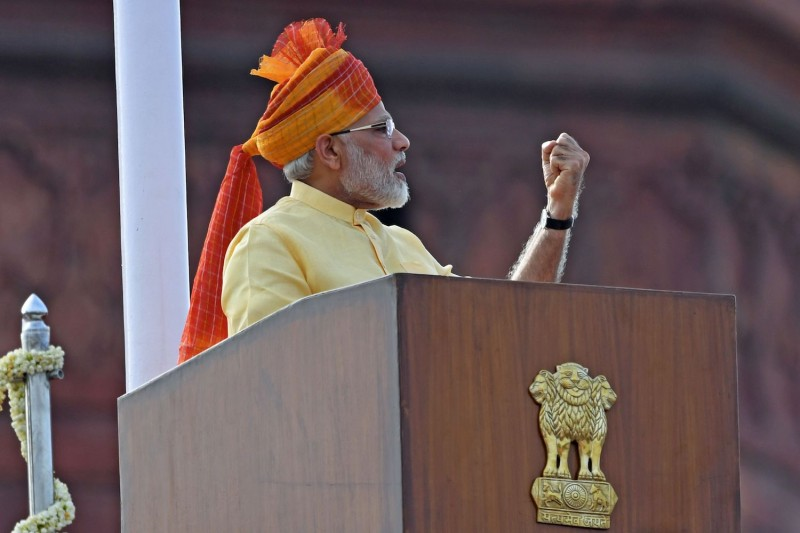 Indian Prime Minister Narendra Modi delivers an address during the country's 71st Independence Day celebrations at the historic Red Fort in New Delhi on Aug. 15, 2017.