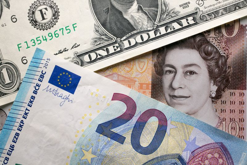 A photo illustration of euro, U.S. dollar, and British pound notes on Oct. 13, 2017.