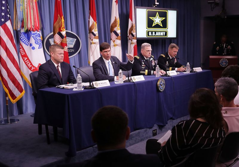 U.S. Army Secretary Mark Esper, Army Undersecretary Ryan McCarthy, Army Chief of Staff Mark Milley and Army Vice Chief of Staff James McConville hold a news conference at the Pentagon in Arlington, Virginia, on July 13, 2018.