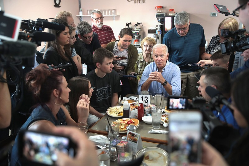 Joe Biden speaks to diners at the Tasty Cafe during a campaign stop in Eldridge, Iowa, on June 12.