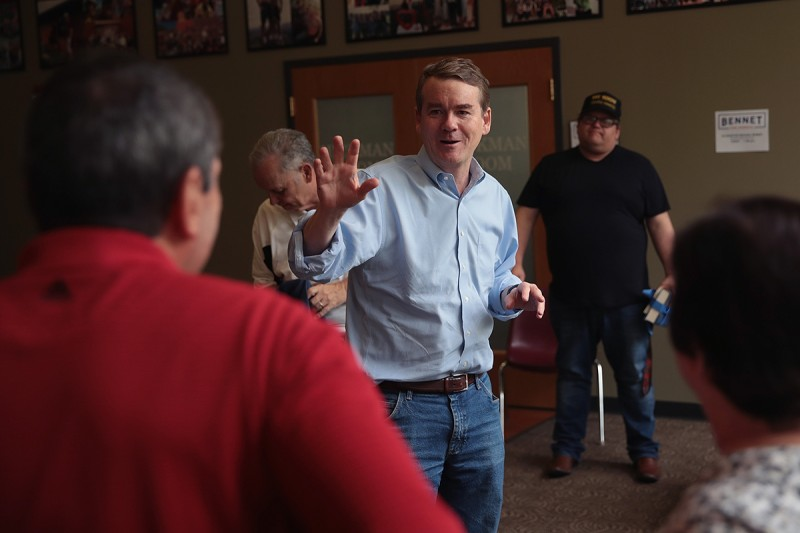 Michael Bennet speaks to guests during a campaign stop in Sioux City, Iowa, on May 18.