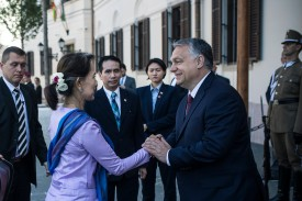 Aung San Suu Kyi with Viktor Orban in Budapest on June 5.