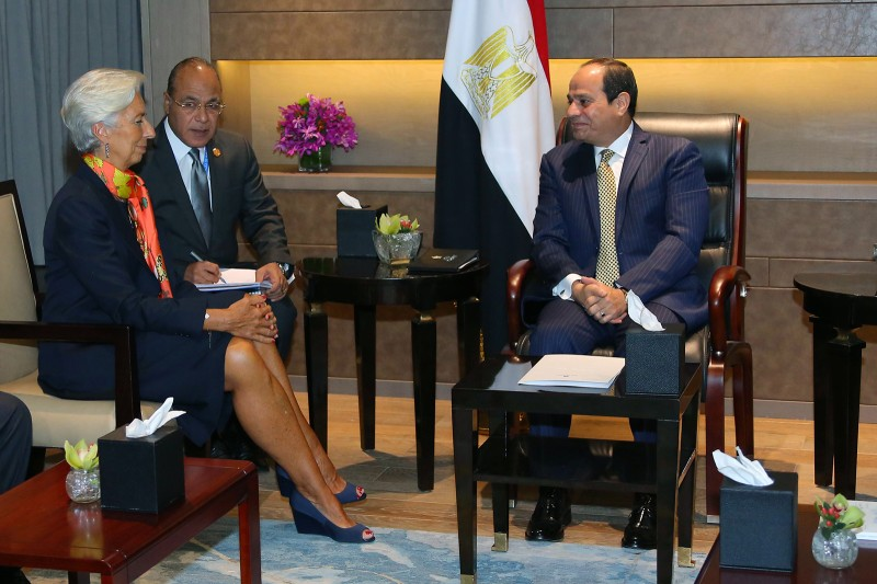 Egyptian President Abdel Fattah al-Sisi meets with Managing Director of the International Monetary Fund Christine Lagarde in Hangzhou, China, on Sept. 3, 2016.