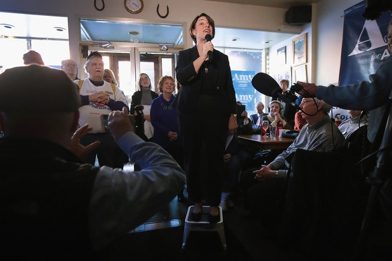 Amy Klobuchar speaks during a campaign stop in Mason City, Iowa, on Feb. 16.