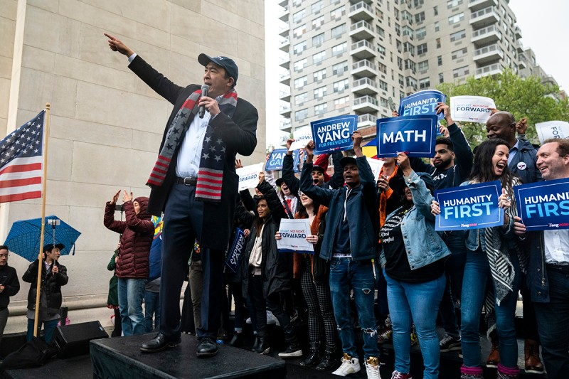 Andrew Yang speaks during a rally in New York City on May 14.