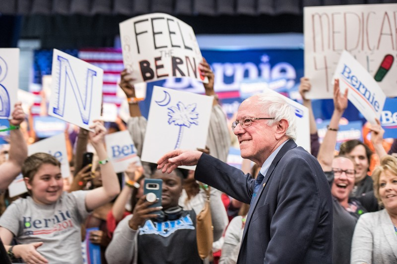 Bernie Sanders greets the crowd in North Charleston, South Carolina, on March 14.