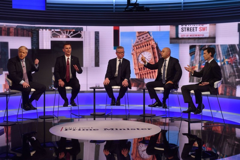 Boris Johnson, Jeremy Hunt, Michael Gove, Sajid Javid, and Rory Stewart participate in a televised Conservative Party leadership debate on June 18 in London.