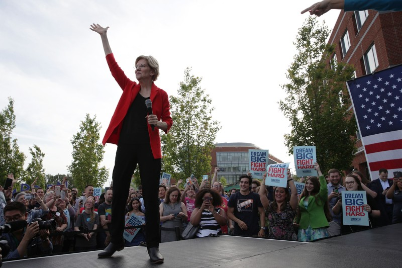 Elizabeth Warren at a campaign town hall in  Fairfax, Virginia, on May 16.