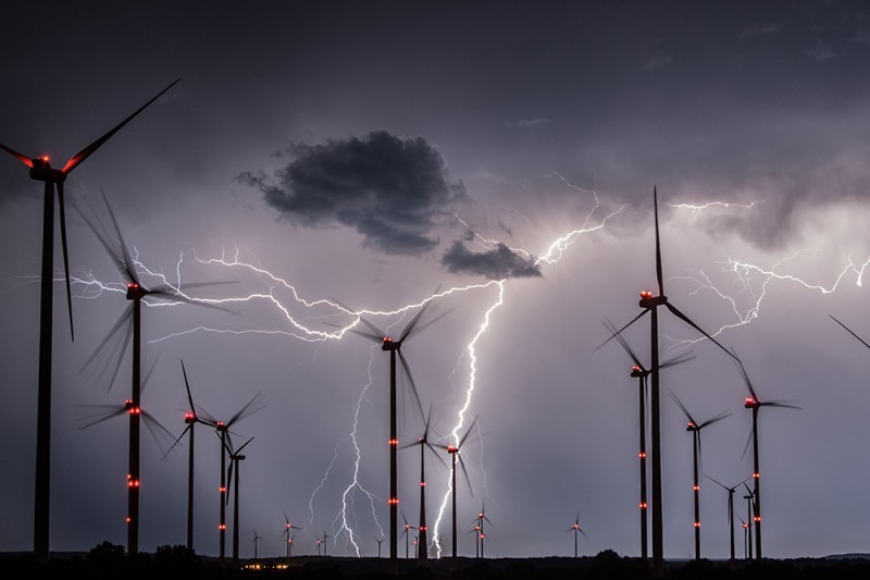Lightning flashes over the Odervorland wind energy park near Sieversdorf, eastern Germany, on Aug. 1, 2017.