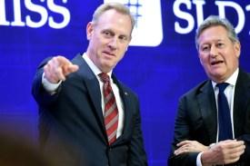 Acting U.S. Secretary of Defense Patrick Shanahan, left, gestures as International Institute for Strategic Studies CEO John Chipman looks on in Singapore on June 1.
