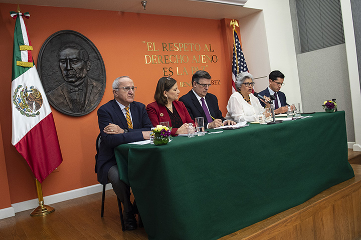 Mexican officials, including Foreign Minister Marcelo Ebrard and Economy Secretary Graciela Marquez Colin attend a press conference with the Mexican delegation negotiating tariffs with U.S. officials on June 3 in Washington, DC.
