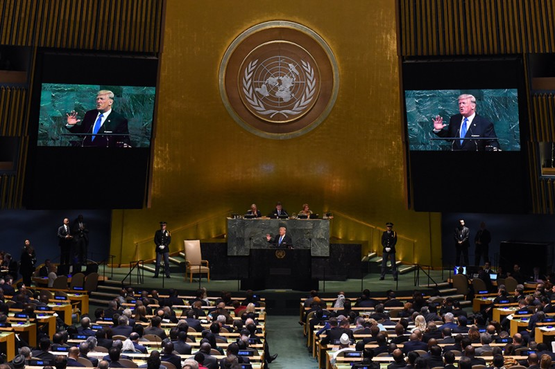 U.S. President Donald Trump waits to address the United Nations General Assembly in New York City on Sept. 19, 2017.