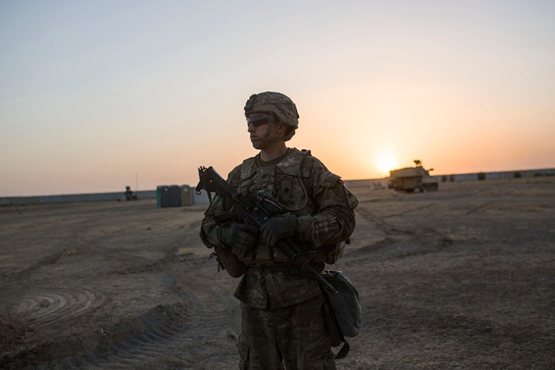 A U.S. soldier guards the Qayyarah military base in northern Iraq on Oct. 20, 2016.