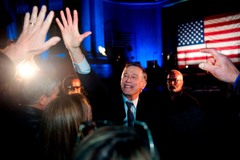 John Hickenlooper greets supporters after his campaign kickoff in Denver on March 7.