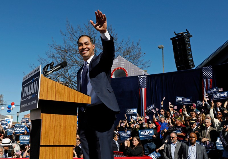 Julián Castro announces his candidacy for president in San Antonio, Texas, on Jan. 12.