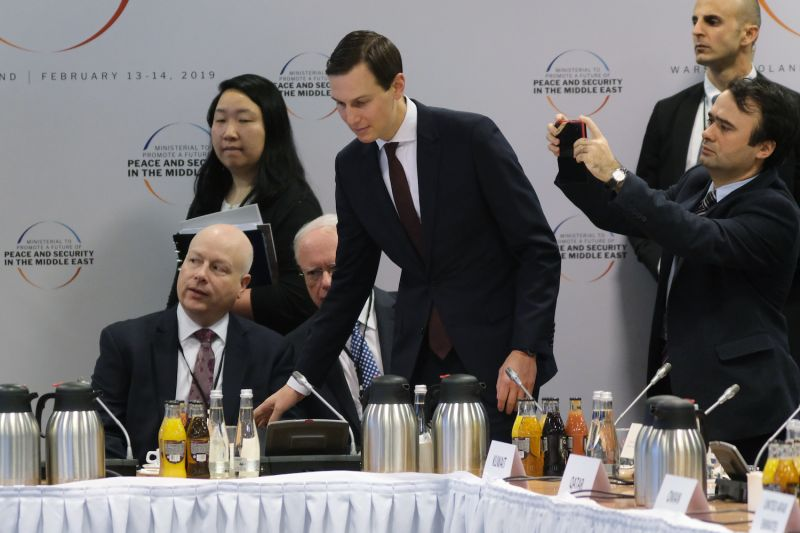 Jared Kushner and Jason Greenblatt attend the opening session of a conference on the Middle East on Feb. 14, in Warsaw, Poland.