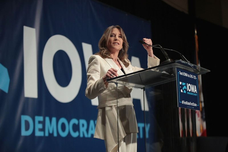 Marianne Williamson speaks at an Iowa Democratic Party event in Cedar Rapids on June 9.