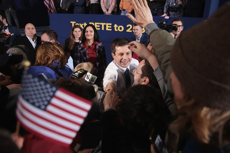 Pete Buttigieg greets guests after announcing his presidential campaign in South Bend, Indiana, on April 14.