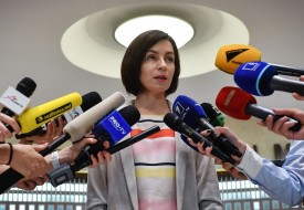 Appointed Prime Minister Maia Sandu adress to the media at the Parliament headquarters in Chisinau city, Moldova, on June 10.