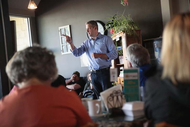 Tim Ryan speaks to guests during a campaign stop in Sioux City, Iowa, on May 18.