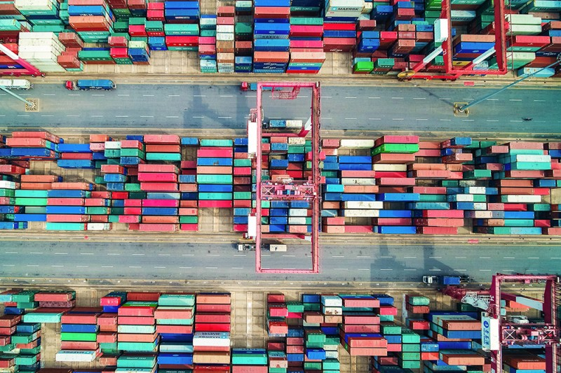 Containers line a port in Qingdao in China's eastern Shandong province on May 14.