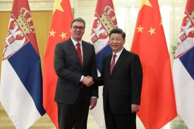 Serbian President Aleksandar Vucic shakes hands with Chinese President Xi Jinping at the Great Hall of People in Beijing on April 25.