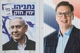Campaign posters for Israeli Prime Minister Benjamin Netanyahu in April and for then-Serbian Prime Minister Aleksandar Vucic in March 2017.