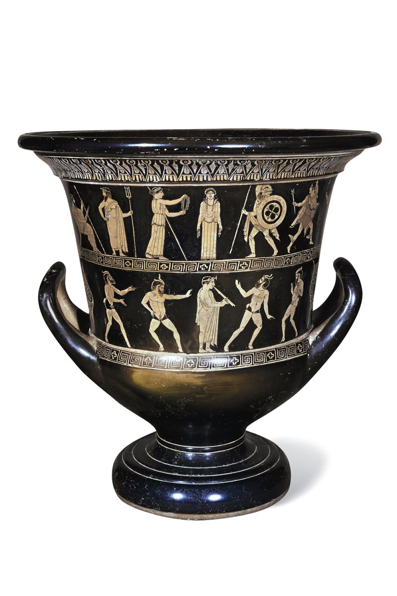 A wine vessel attributed to the Niobid Painter of Athens.