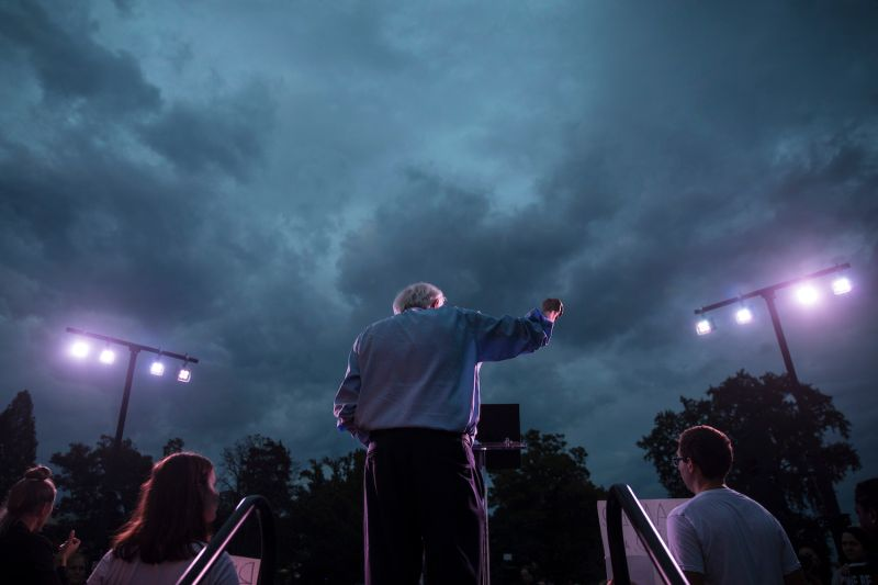 Sen. Bernie Sanders speaks at a protest rally in Washington, D.C., on Oct. 4, 2018.