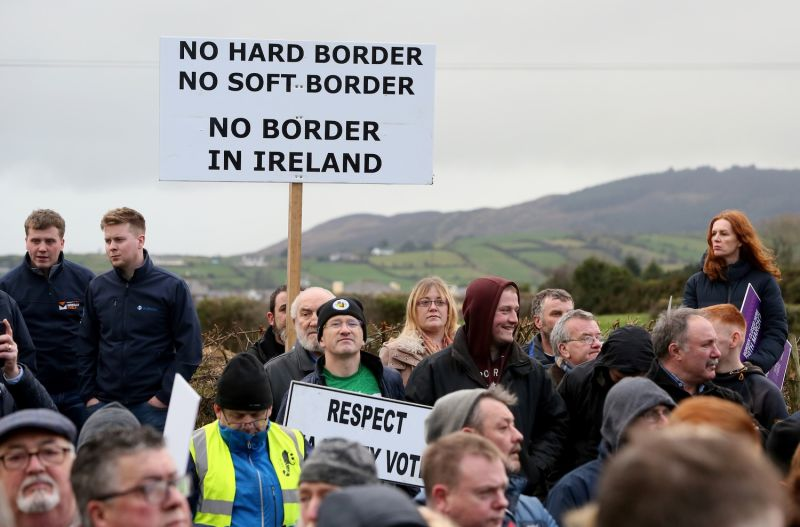"The group ""Border Communities Against Brexit"" holds an anti-Brexit demonstration near the border between Northern Ireland and Ireland in Newry, Northern Ireland, on Jan. 26."