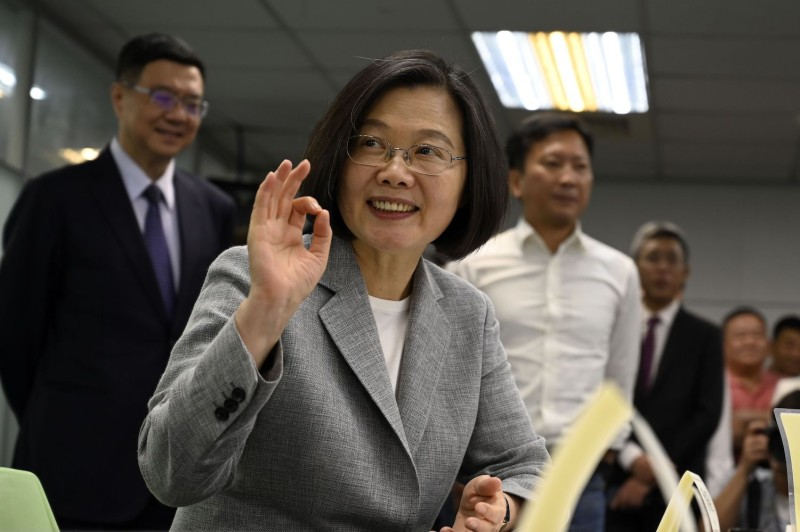 Taiwan's President Tsai Ing-wen registers as the ruling Democratic Progressive Party's 2020 presidential candidate in Taipei on March 21.