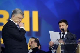 Ukraine's then-president, Petro Poroshenko, listens to then-presidential candidate and comedian Volodymyr Zelensky during an election debate in Kiev on April 19.
