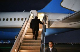 U.S. Secretary of State Mike Pompeo boards a plane before departing from Baghdad during a brief visit to Iraq on May 7.