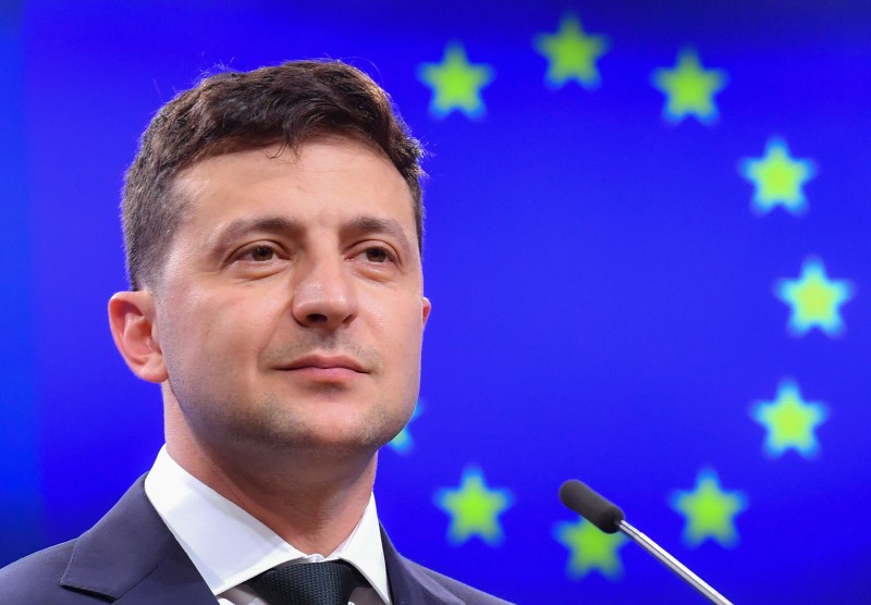 Ukraine's President Volodymyr Zelensky looks on during a press conference after a meeting with president of the European Council at the European Council in Brussels on June 5.