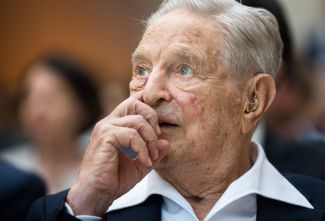 Hungarian-born US investor and philanthropist George Soros receives the Schumpeter Award 2019 in Vienna, Austria on June 21, 2019.