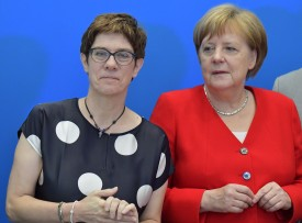 Head of the conservative Christian Democratic Union party Annegret Kramp-Karrenbauer poses with party member and German Chancellor Angela Merkel before a party board meeting in Berlin on June 24, 2019.