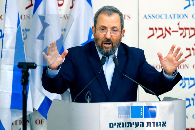 Former Israeli Prime Minister Ehud Barak holds a press conference to announce that he will be running in the upcoming elections at Beit Sokolov in Tel Aviv, Israel, on June 26.