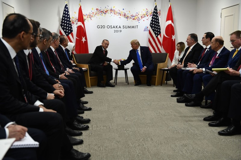 U.S. President Donald Trump and Turkish President Recep Tayyip Erdogan hold a bilateral meeting on the sidelines of the G-20 Summit in Osaka on June 29, 2019.