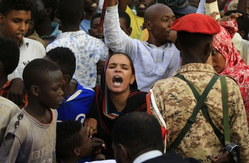 Sudanese protesters demand civilian rule in Omdurman on June 29.