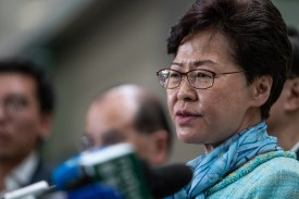 Carrie Lam speaks during a news conference in Hong Kong on July 2.