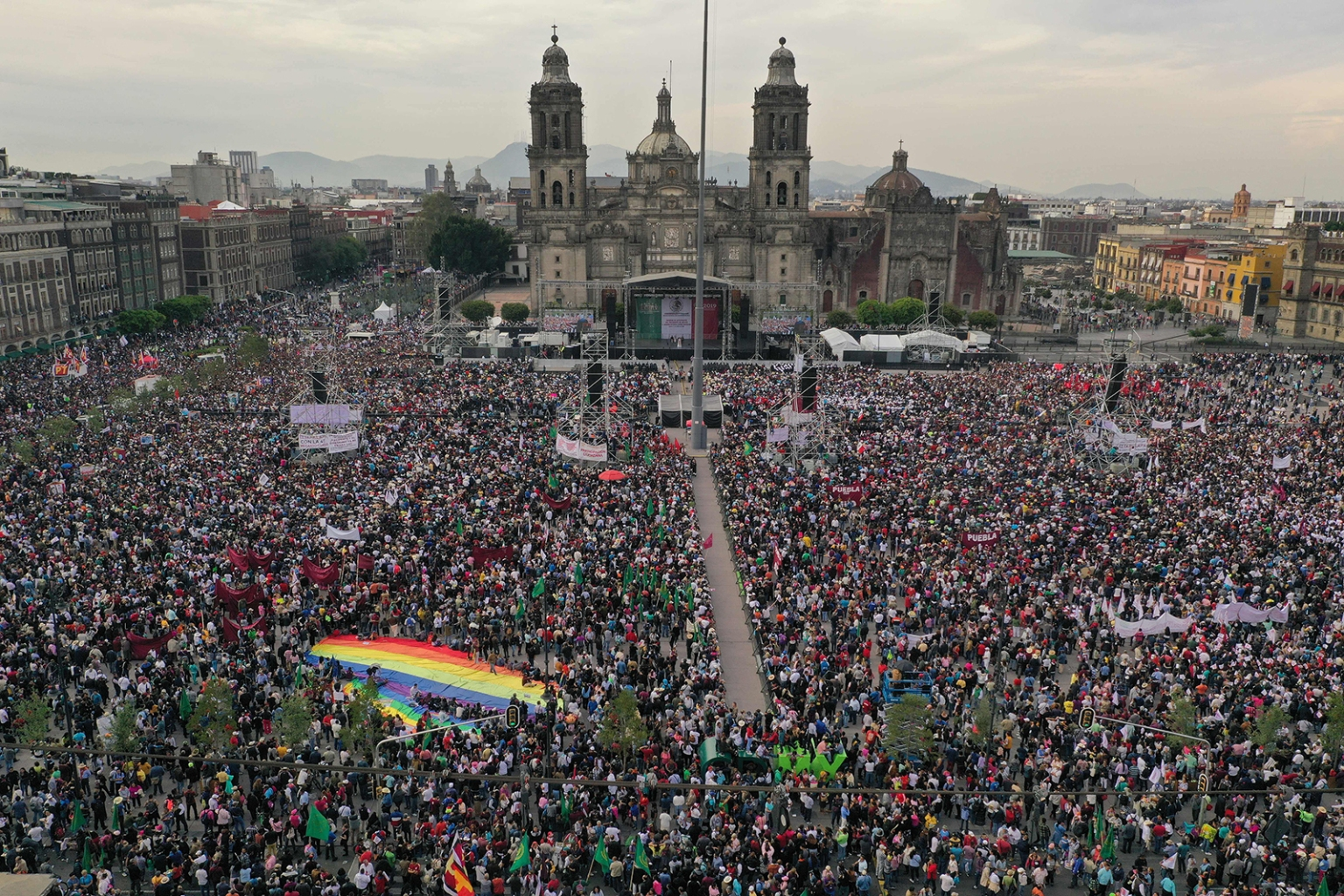 People crowd Zocalo Square where Mexican President Andres Manuel Lopez Obrador was due to present his government report in Mexico City on July 1. ALFREDO ESTRELLA/AFP/Getty Images