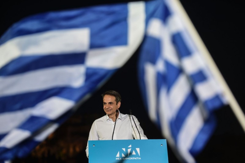 Kyriakos Mitsotakis addresses a preelection rally in Athens on July 4.