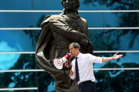 Opposition leader and president of the National Assembly Juan Guaidó speaks to supporters during a demonstration in Caracas, Venezuela, on July 5.