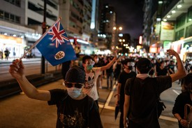 Protesters take part in a rally in Kowloon in Hong Kong on July 7.
