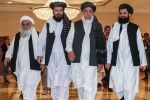 Taliban representatives are pictured during the second day of the Intra-Afghan Peace Conference talks in Doha, Qatar, on July 8.