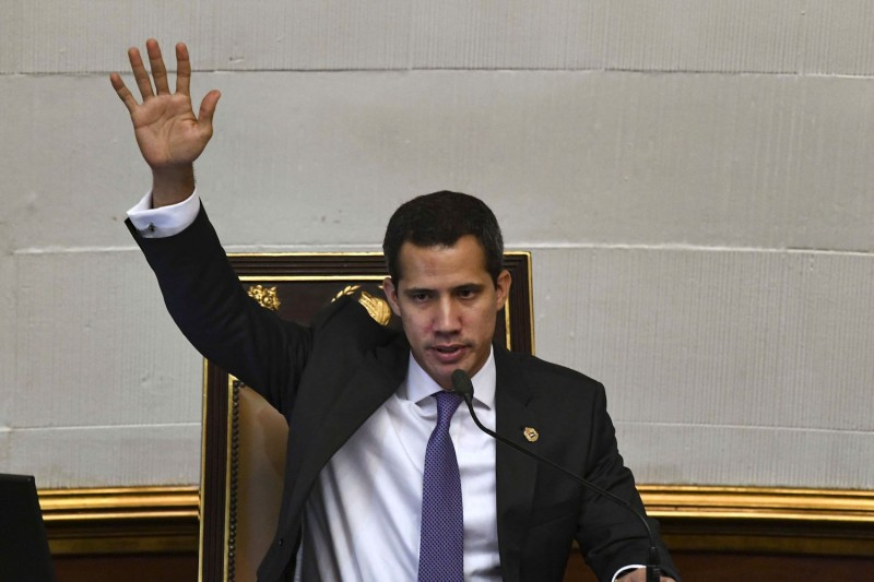 Venezuelan opposition leader and self-proclaimed interim president Juan Guaidó speaks at the National Assembly after a meeting with the European Union special advisor for Venezuela, Enrique Iglesias, in Caracas on July 9.