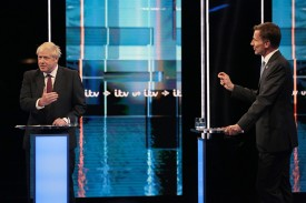 Boris Johnson and Jeremy Hunt take part in the ITV debate on July 9 in Salford, England.