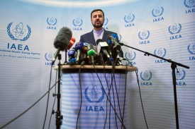 Iran's Permanent Representative to the United Nations Kazem Gharib Abadi give a press conference after the International Atomic Energy Agency (IAEA) Board of Governors meeting in Vienna on July 10.